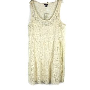 American Eagle Size M Dress Lace Full Slip Beige